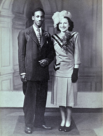 Ake from Trinidad and Mary Jacobs, British, on their wedding day in April 1948