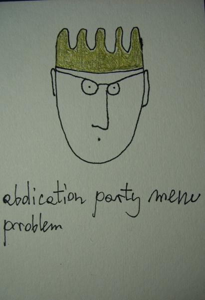 abdication party menu problem