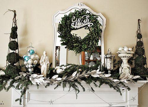 kominek świątecznie w stylu shabby chic