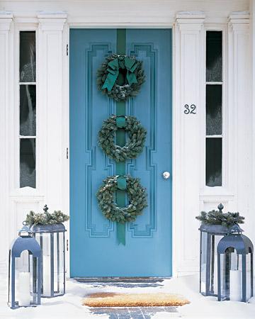 dekoracje na drzwi na gwiazdkę