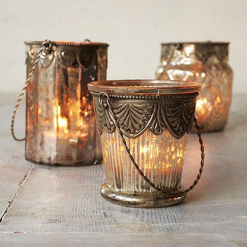 szklany lampion w stylu shabby chic