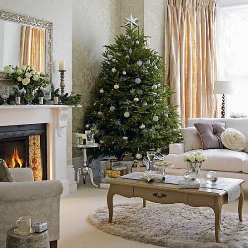 living room shabby chic christmas