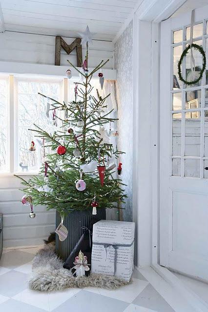 świąteczny korytarz, hol, przedpokój shabby chic