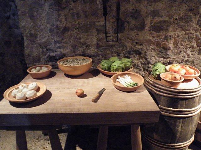 stolik z warzywami