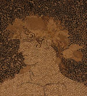 Fragment mozaiki przedstawiającej Dionizosa na lamparcie, widoczne ...