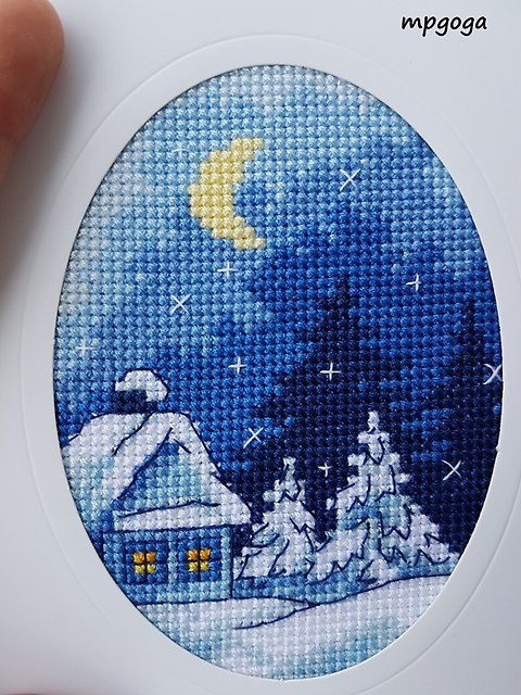 zimowy pejzaż domek