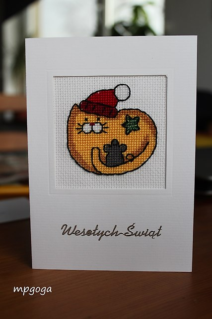 kartka świąteczna kot
