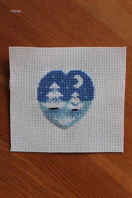 zimowe niebieskie serduszko