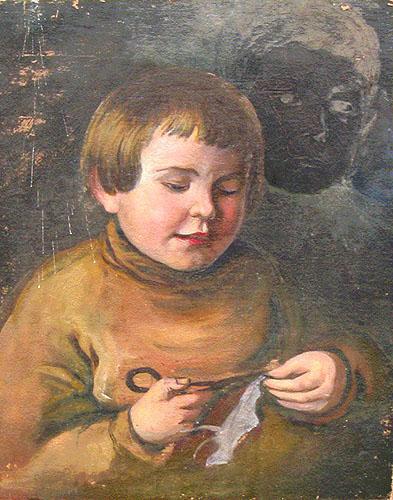 Obraz olejny Zarzeckiego   przedstawiaj�cy ma�ego Ludwika wycinaj�cego konia z papieru