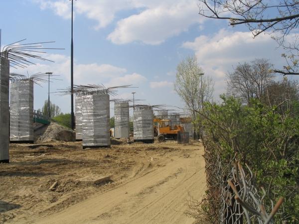 Budowa zjazdu na wał miedzeszyński