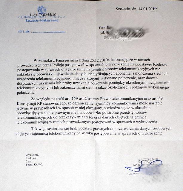 List z komisariatu